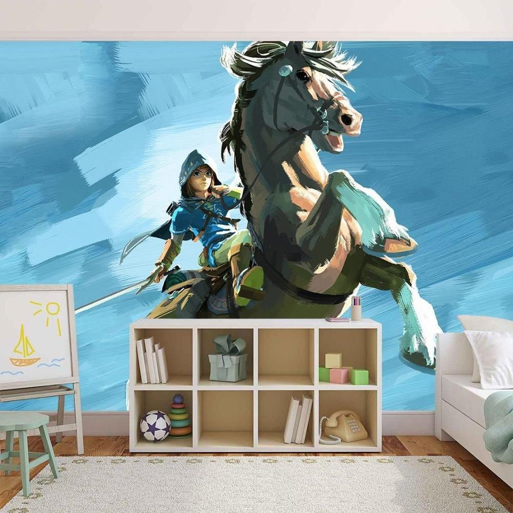 59792b25ad Link Legend Of Zelda Wallpaper Woven Self-Adhesive Wall Art Mural Decal  M224 | eBay