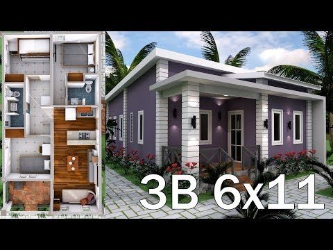 Low Budget Home Plan 6x11 Meter with 3 Bedrooms. This plan designed by Samphoas. We hop you love this plan Pleas like and Share.
