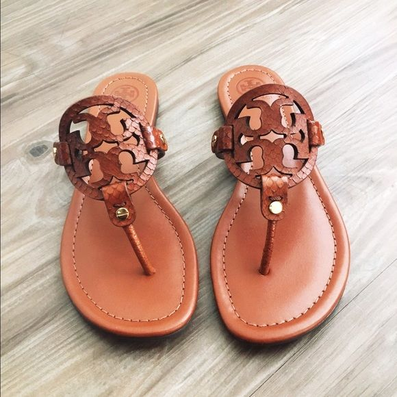 f596d48fc534c Tory Burch Miller Sandals New with box and dustbag. In tan color with snake  skin logo. Reasonable offers accepted only. No trades Tory Burch Shoes  Sandals