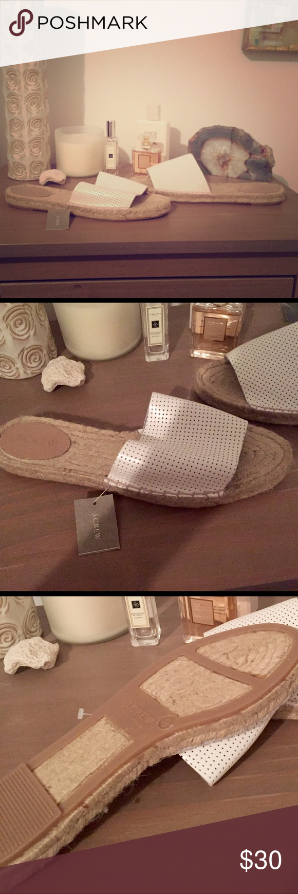 J Crew Flats. Never worn! NWT. J Crew white leather slip on flats. Never worn! Size 9. J. Crew Shoes Flats & Loafers