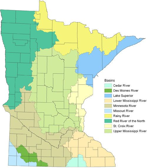 Map of Minnesota's 10 major basins (watersheds) What is a watershed? Also links to the watershed in your community.