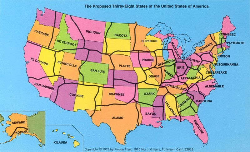 The Proposed 38 States of the United States of America | Geography ...