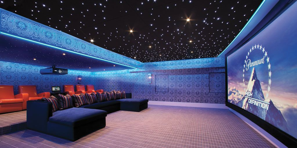 custom home theater led lighting alcove with star ceiling