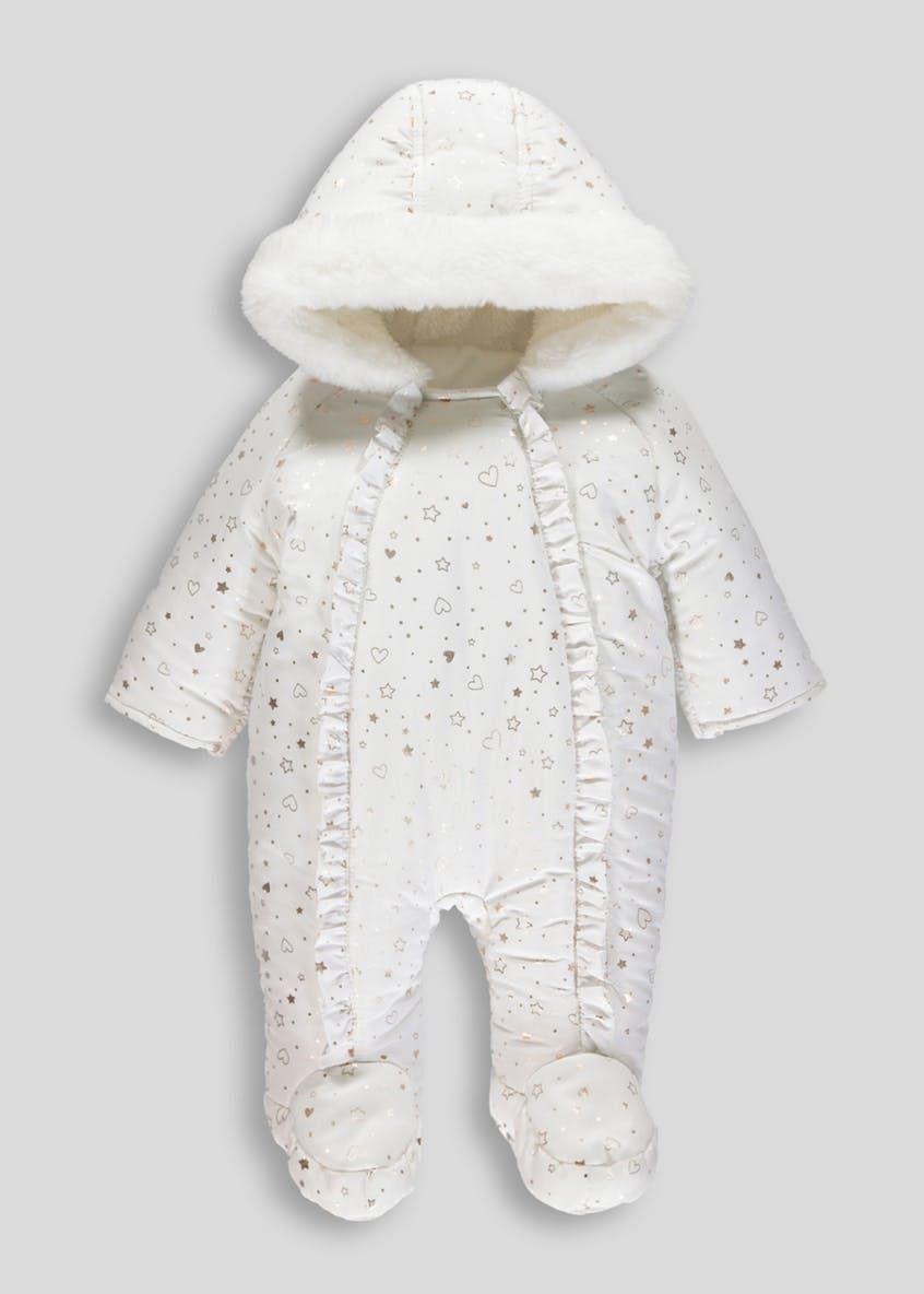 134fa8d00efa Unisex Heart   Stars Ruffle Snowsuit (Tiny Baby-18mths)
