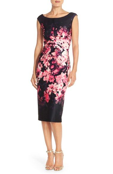 3f00104c12d Eliza J Floral Scuba Sheath Dress (Regular   Petite) available at  Nordstrom