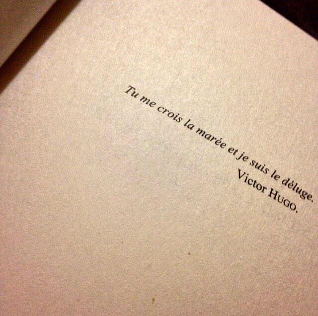 Love Quotes Victor Hugo: Tu Me Crois La Marée Et Je Suis Le Déluge