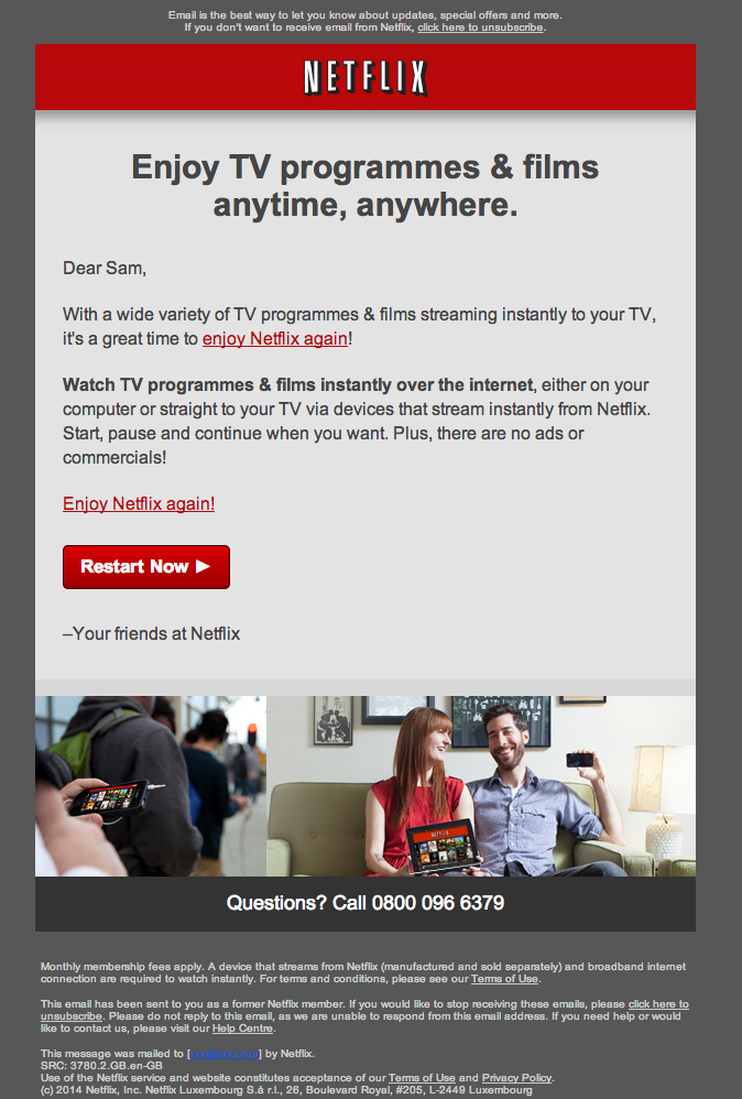 A Nice Example Of A WinBack Email From Netflix Nice And Short