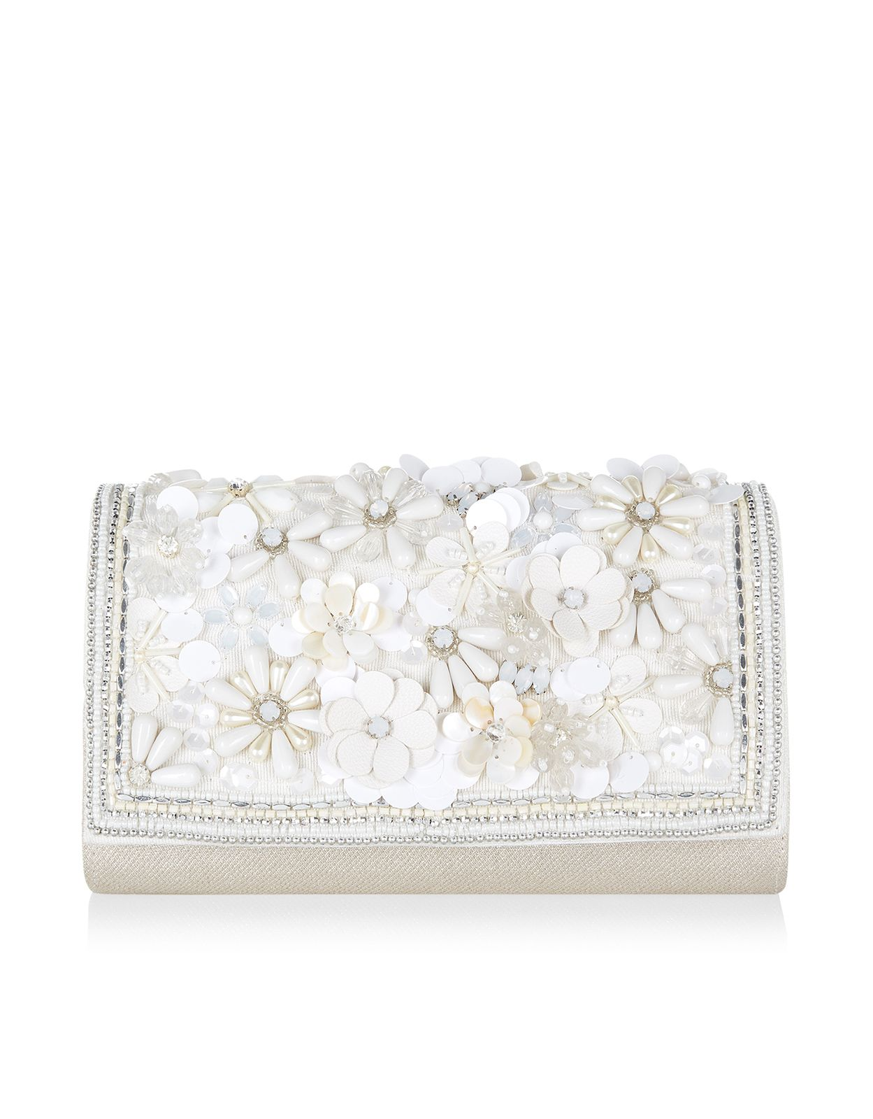 Belle Bridal Floral Flapover Clutch Bag   Ivory   Accessorize   Lust ...