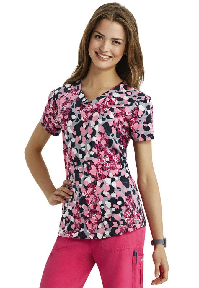 Greys Anatomy Eclectic V Neck Print Scrub Top Main Image Awesome