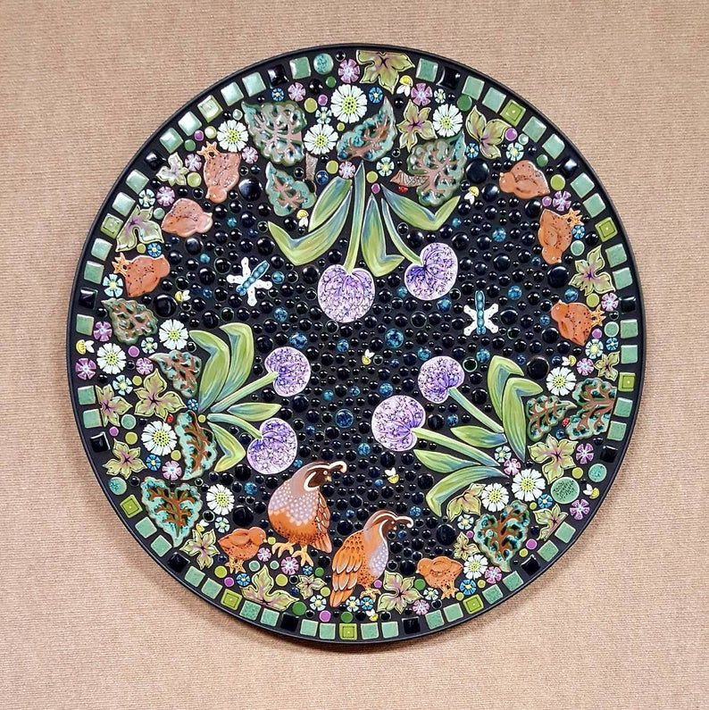 quail lupine floral mosaic tile table