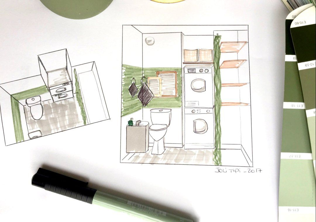 Am Nager Un Wc Buanderie Esprit Green Croquis 3d Am Nagement Wc
