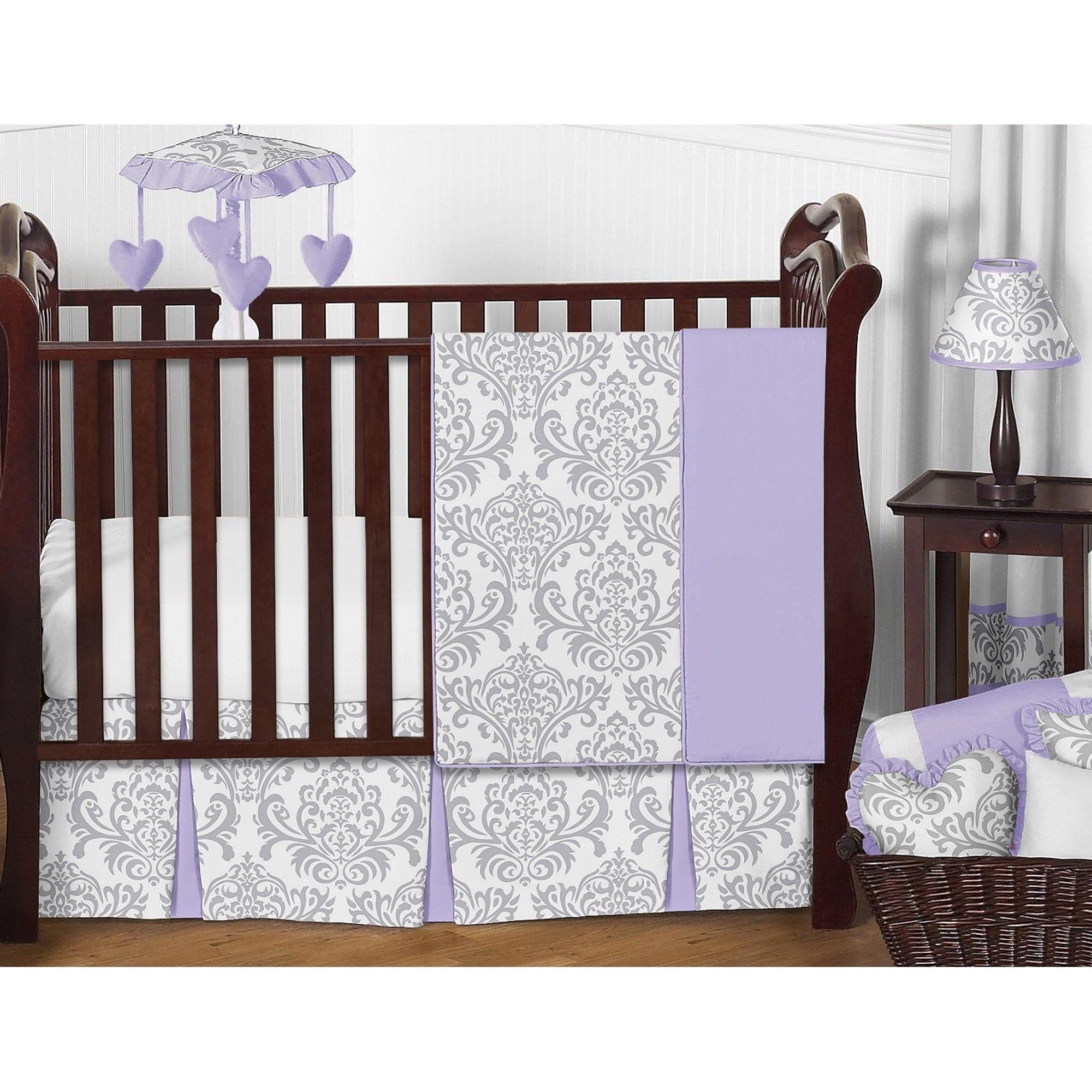 Sweet Jojo Designs Lavender Purple And Gray Elizabeth 11 Piece Bumperless Crib Bedding Set In Bumperless Crib Bedding Crib Bedding Girl Girl Crib Bedding Sets