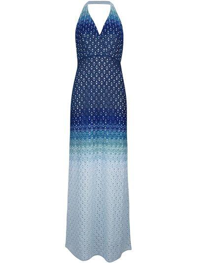 MISSONI Vestido Azul Com Padronagem.