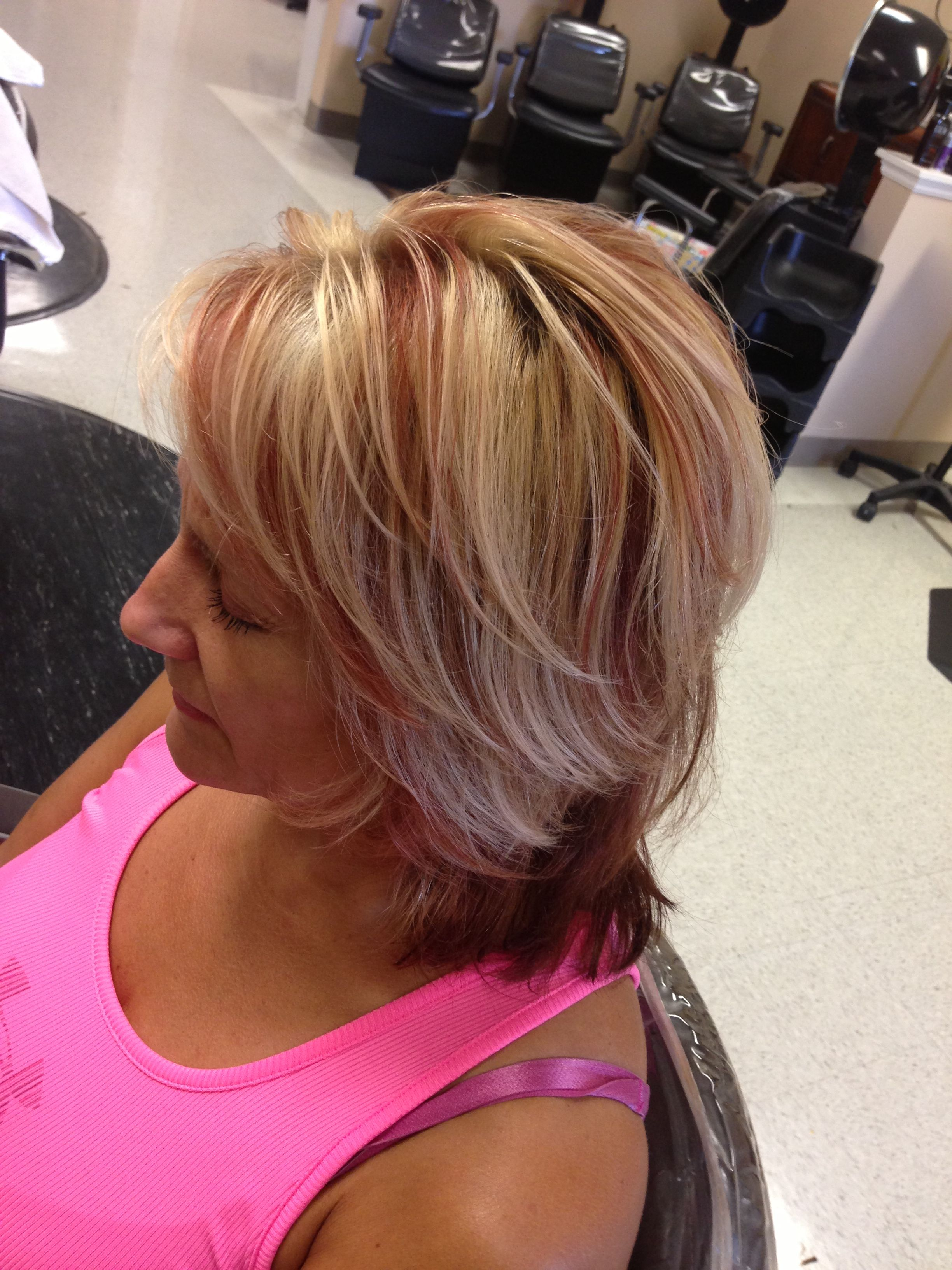 Red and blonde highlights cute hair pinterest blonde