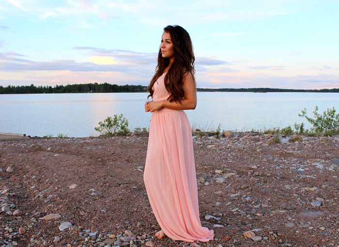 Jozella: Peach Maxi Dress