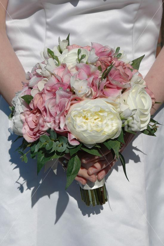 Pink Garden Rose And Hydrangea Bouquet rustic ivory and pink peony, lily of the valley, rose and