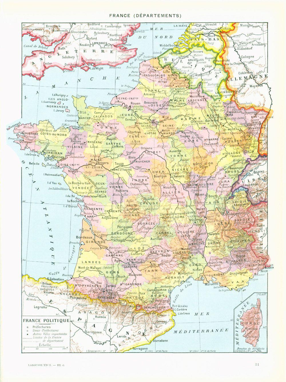 1933 Carte France Historique Departements Planche Originale Maison