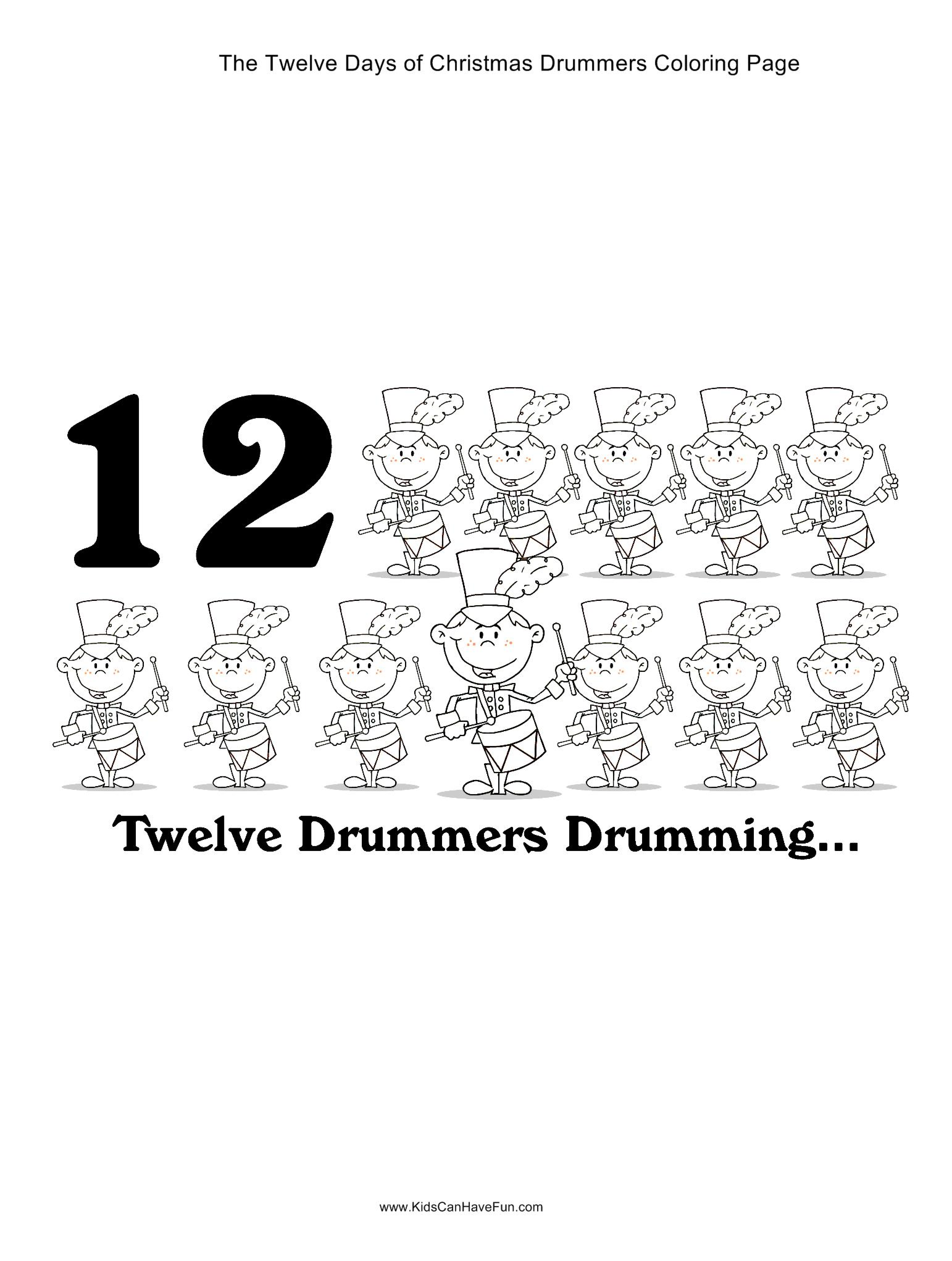 12 Days of Christmas twelve drummers drumming coloring page http ...