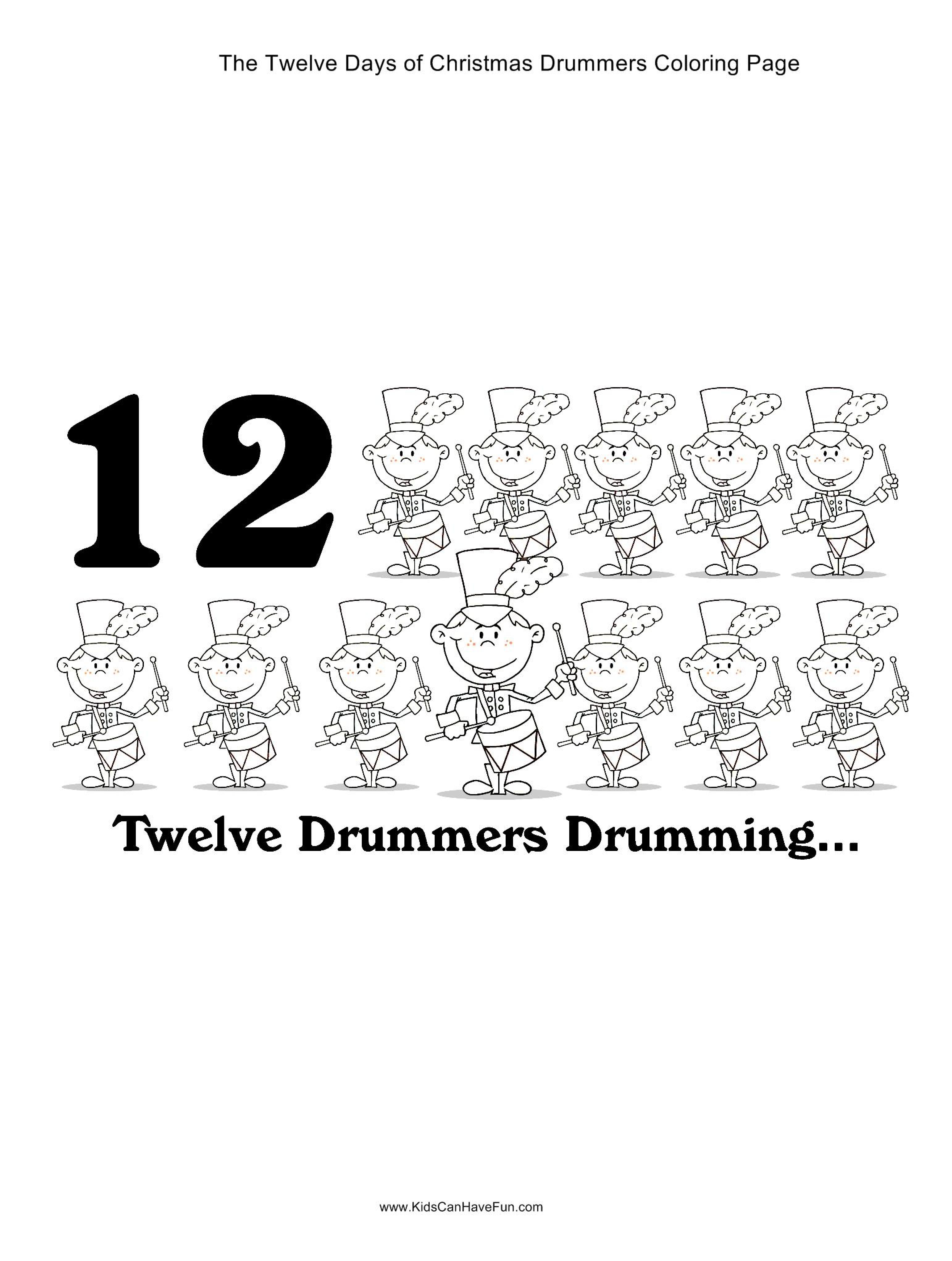 12 Days Of Christmas Twelve Drummers Drumming Coloring