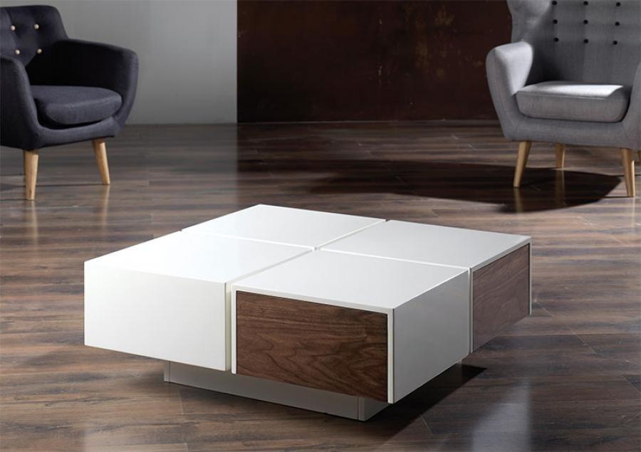Modern Ivory and Wood Veneer Merida Coffee Table with Storage | Home ...