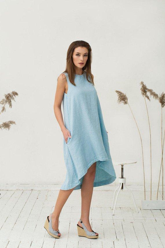 a5f661413c Light blue linen dress TOSCANA. Asymmetrical