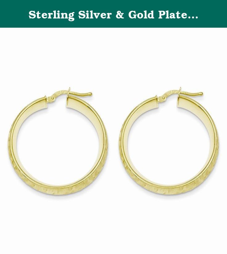 Sterling Silver & Gold Plated Textured Hoop Tube Earrings This