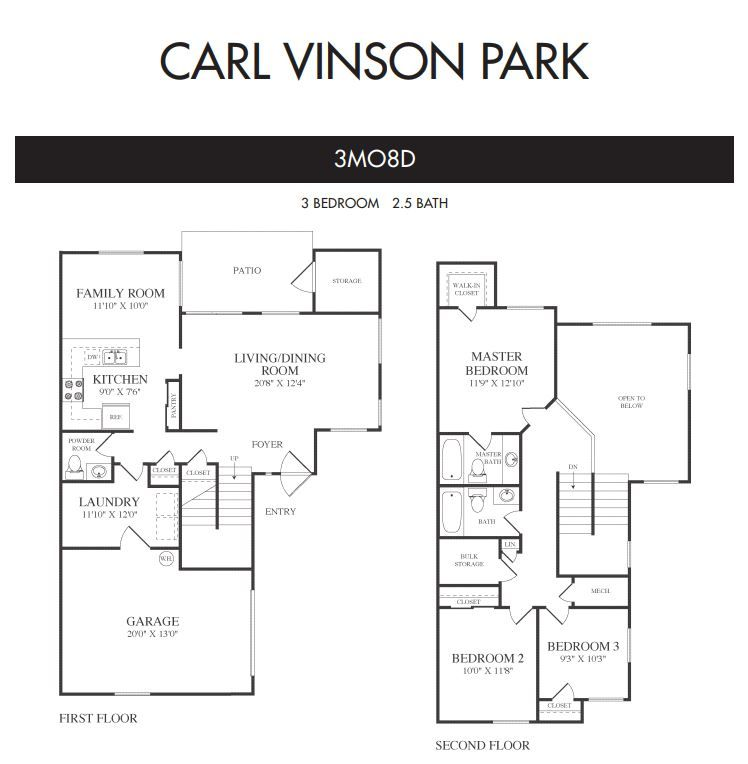 The 3MO8D floor plan features 3 bedrooms and 2.5 baths