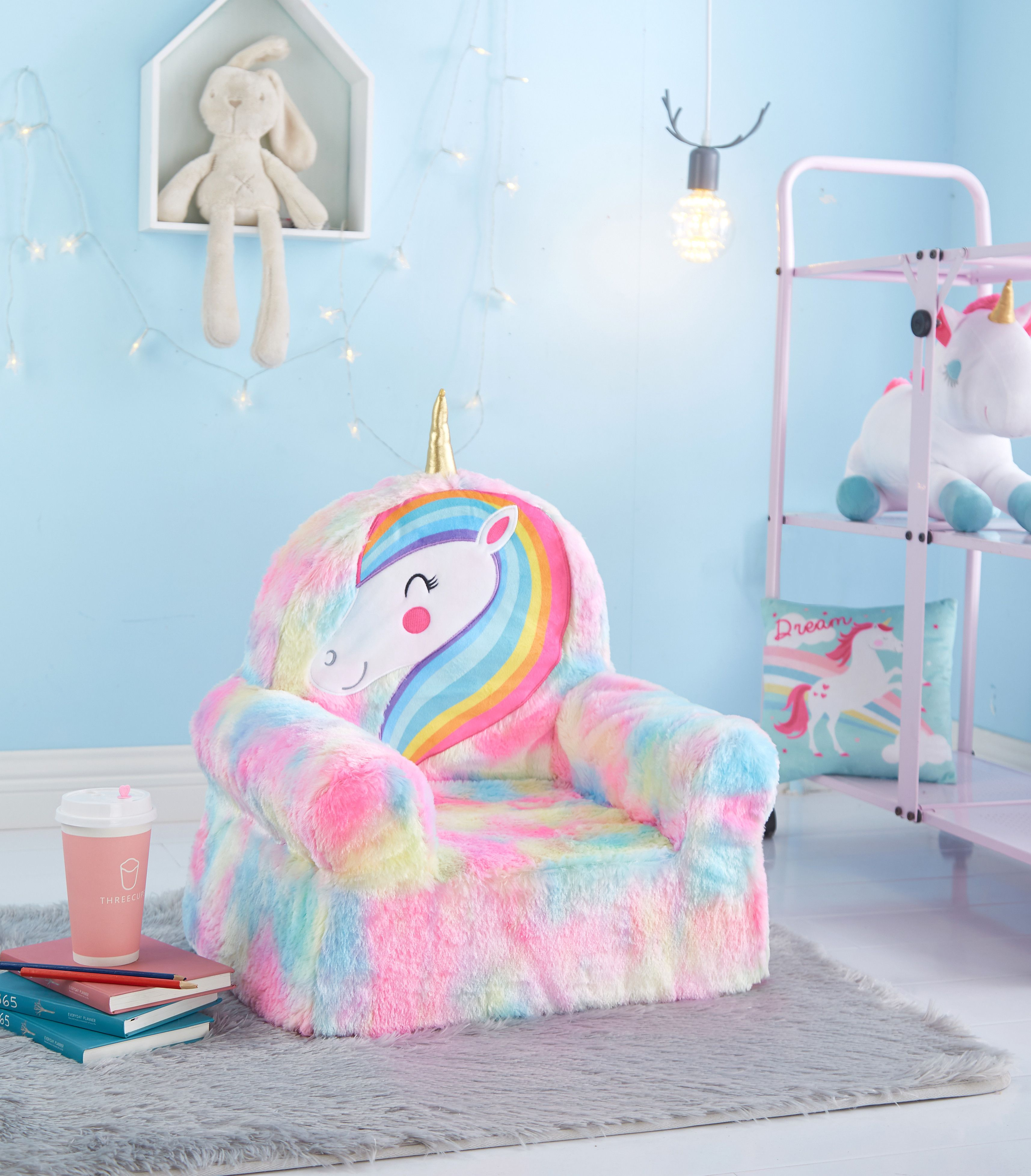 American Kids Figural Foam Chair Available In Multiple Styles Walmart Com In 2020 Girls Rainbow Bedroom Unicorn Room Decor Unicorn Bedroom Decor
