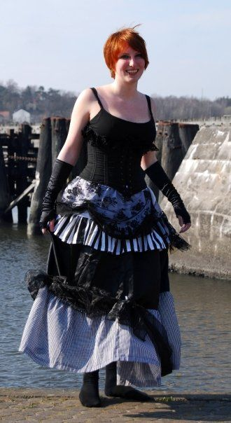 cool skirt with multiple layers.. use lace, tulle, striped fabric etc.