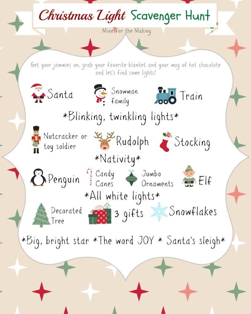 10 Christmas Light Scavenger Hunt Printables Mine for