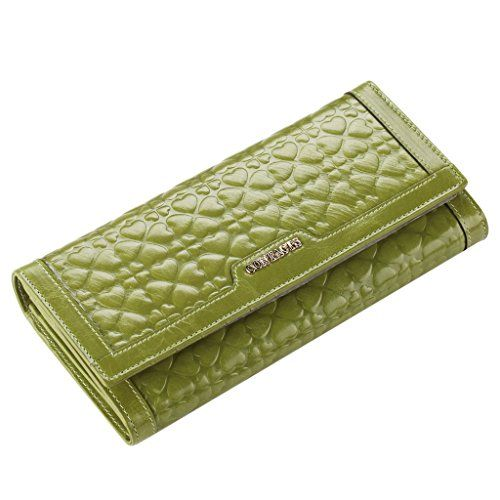 contacts womens genuine leather embossing long wallet green color contacts httpwww - Color Contacts Amazon