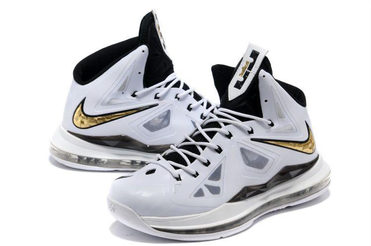 super popular f7f21 c8bc6 ... Lebron 10 White Black Gold Medal Lebron James Shoes 2013 - Click Image  to Close 280 Nike ...