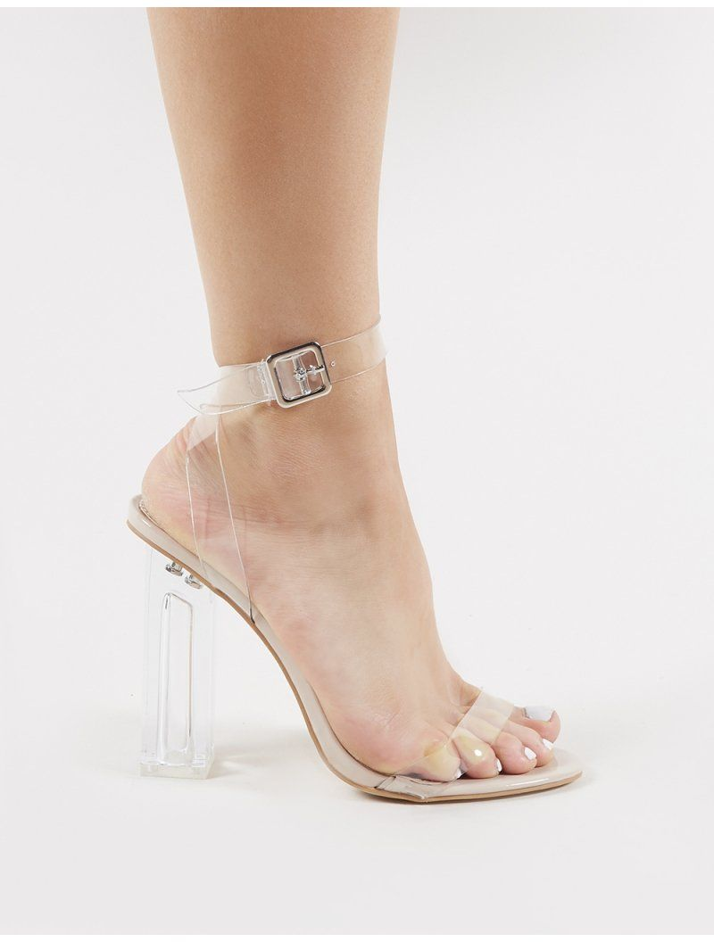 3a430b31584 Alia Strappy Clear Perspex High Heels in Nude in 2019 | Foot covers ...