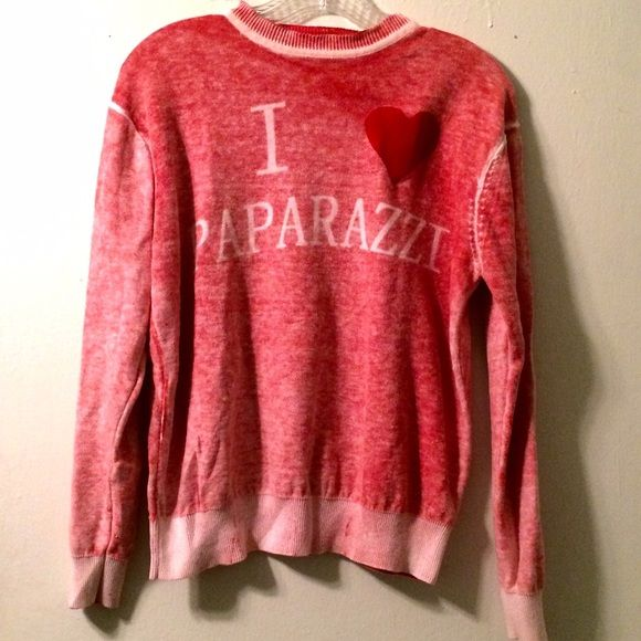 "Cool sweater Beautiful ""I love paparazzi "" sweater. Perfect condition. Steelo Sweaters Crew & Scoop Necks"