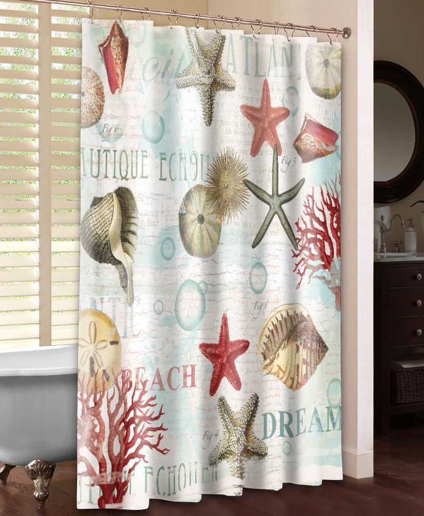 Dream Beach Shells Shower Curtain With Images Beach Shower