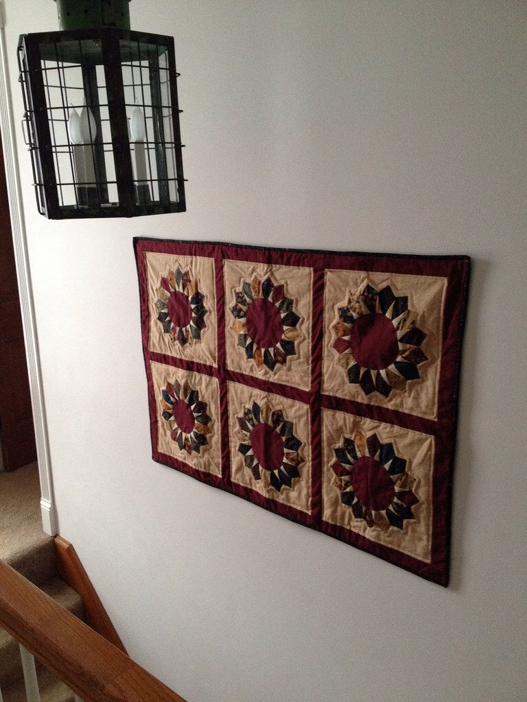 """Dresden Star wall hanging made from some leftover """"stars"""" from the quilt I made Mom in 2013."""