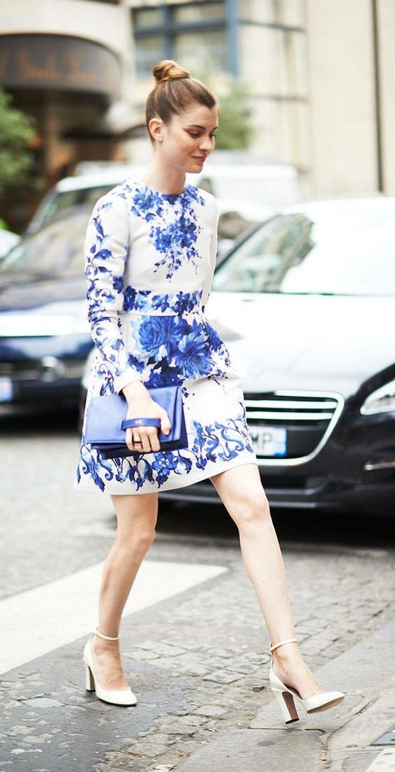 Paris couture week  porcelain teacup inspired look with blue floral prints  on a white dress. d5cd7e717