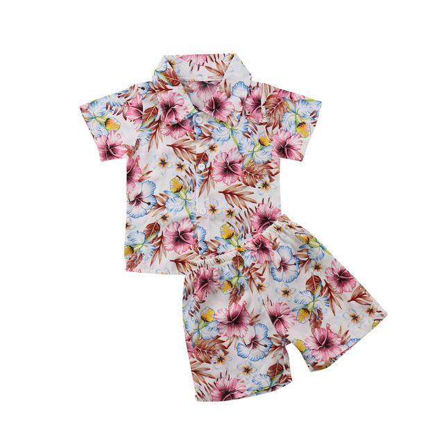 c6f719eb4b87 Summer Beach Toddler Baby Boys Hibiscus Floral Hawaii Shirt and Short Pants  Set