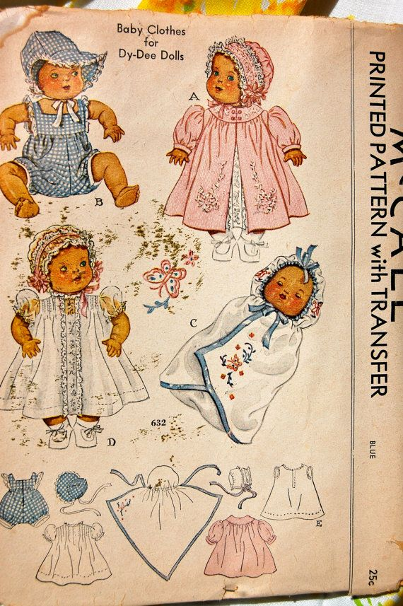 Vintage Sewing Pattern - McCall 632, Size 11 for Dy-Dee Dolls, ca ...