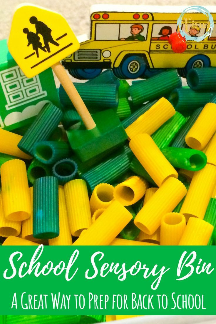 Back to School Sensory Bin with Colored Pasta | Epic Preschool Ideas ...
