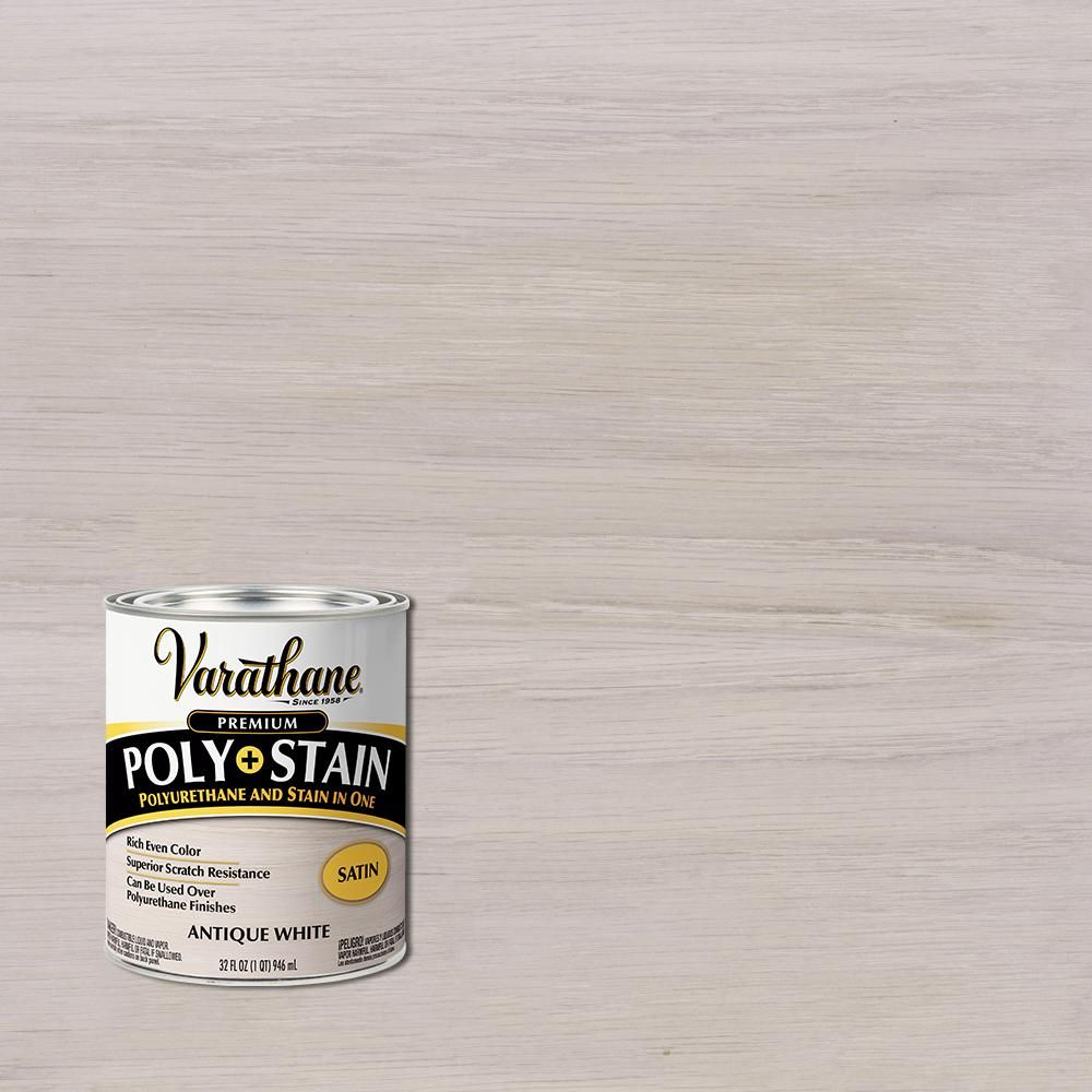 Varathane 1 Qt Antique White Semi Transparent Satin Oil Based Interior Polyurethane And Stain 2 Pack In 2020 Antiques Semi Transparent How To Apply