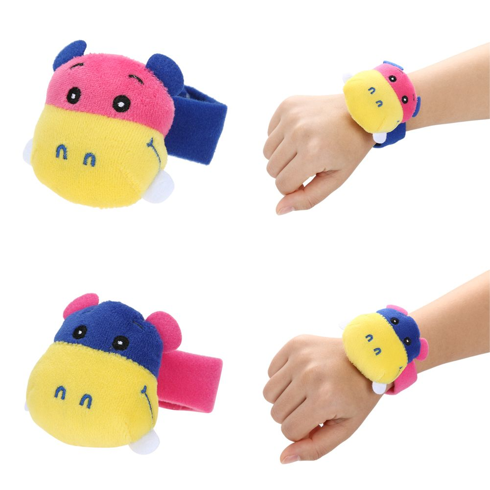 2 pcs Baby Rattle Toy Hand Wrist Soft Plush Rattle Toys Colourful Animal