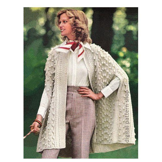 Wrap Cape Knitting Pattern Aran Knit Cape Pattern Womens Arm Slits ...