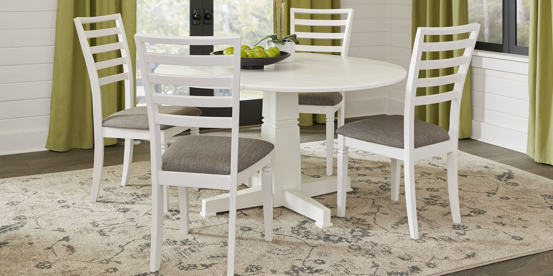 Riverdale White 5 Pc Round Dining Room With Ladder Back Chairs