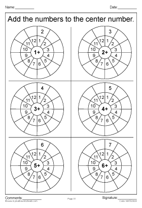 Add the numbers to the center number worksheet par