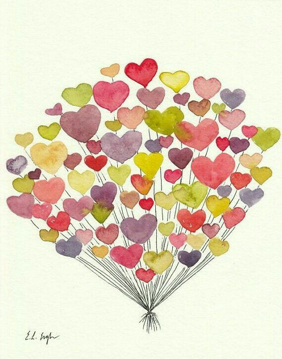 Pin By Maria Jimenez On Cards Watercolor Heart Valentines Art