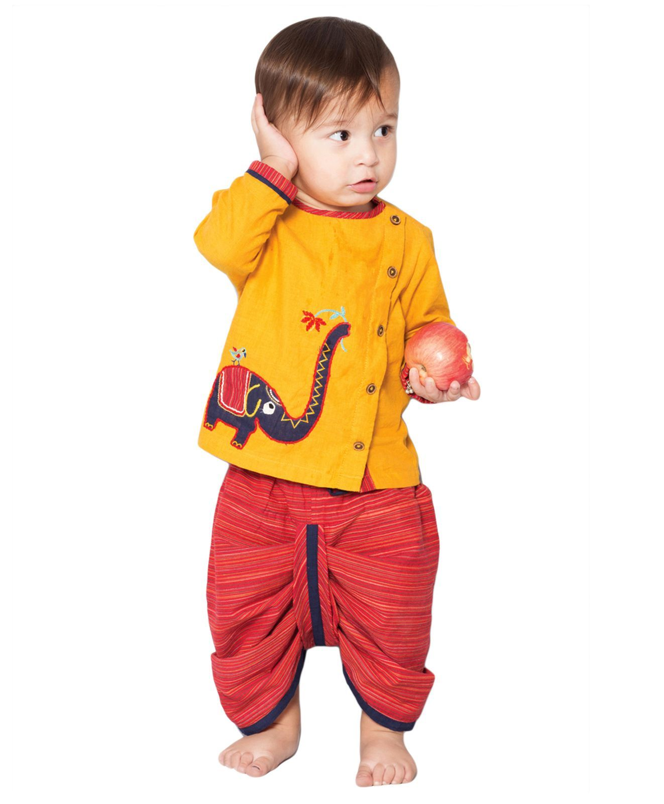 Buy Tiber Taber Elephantasia Dhoti Kurta Set Yellow Red For Boys 0 3 Months Online In India At Best Price From Fi Kids Outfits Baby Boy Outfits Boy Outfits