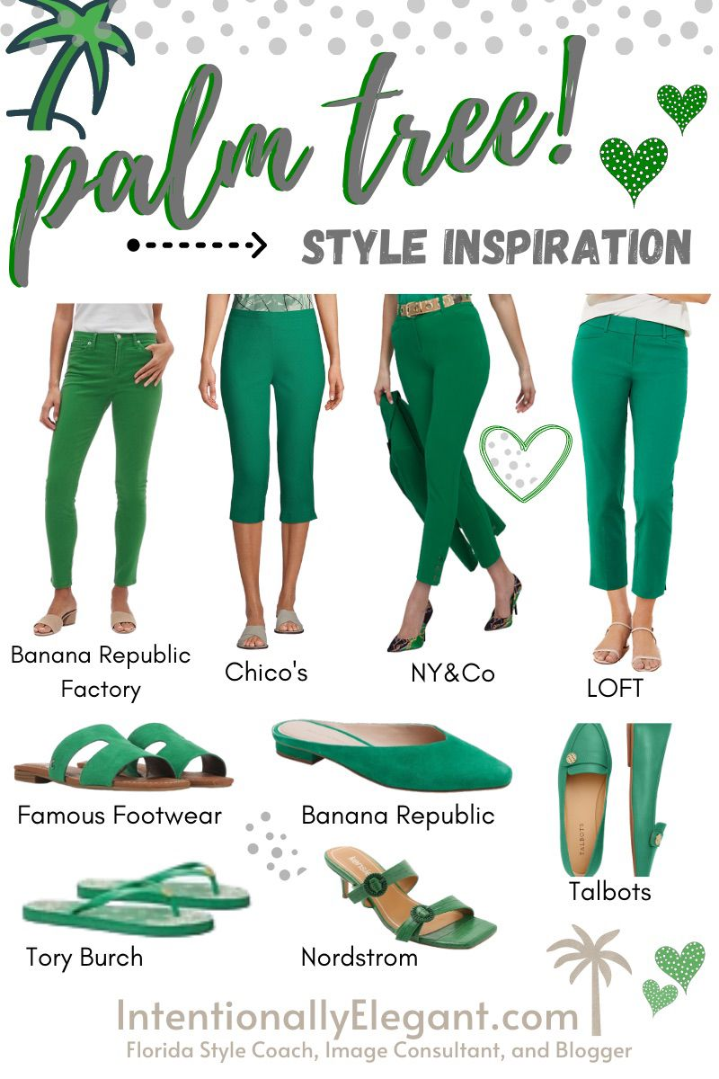 Green is such a refreshing color to wear!  Unfortunately some ladies are best served keeping green away from their face. . Today's style board is inspired by the beautiful green palm trees I see everyday.  You'll see green bottoms & shoes.  So if you love green but aren't sure if it loves you back, incorporate it into your wardrobe this way. . . #imageconsultant #styleconsultant #colorcode #coloranalysis