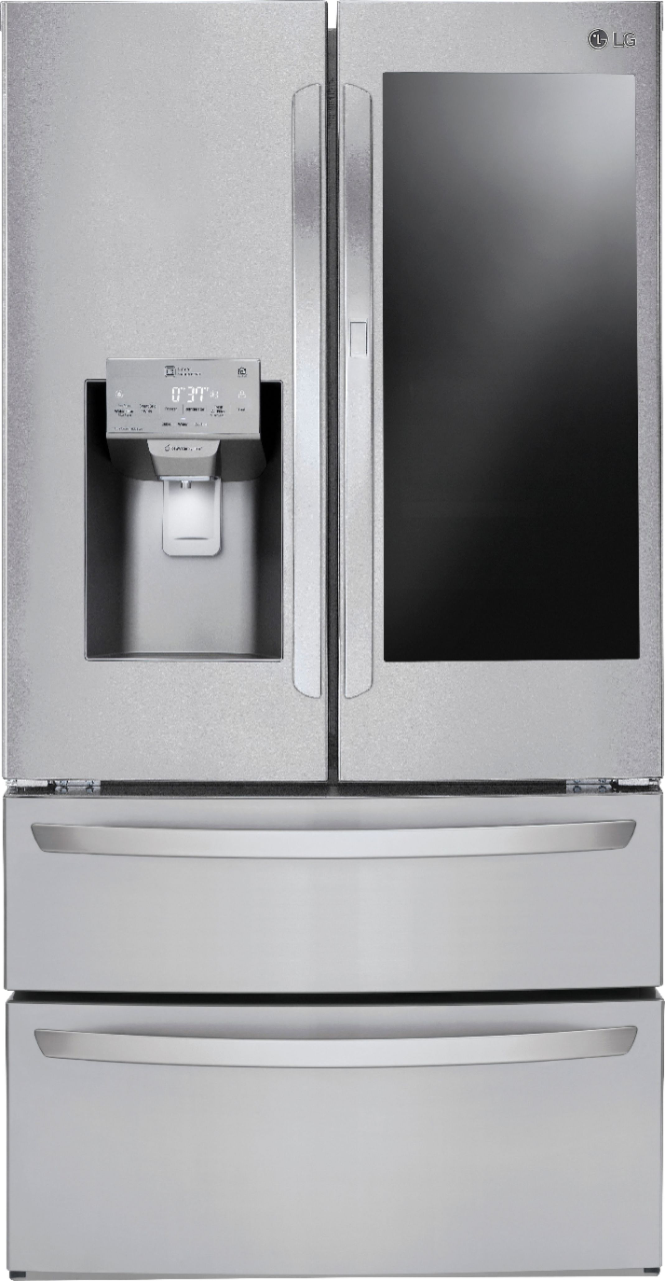 Lg Instaview Door In Door 27 8 Cu Ft 4 Door French Door Refrigerator Stainless Steel Lmxs28596s Best Buy Lg French Door Refrigerator Tempered Glass Shelves French Door Refrigerator