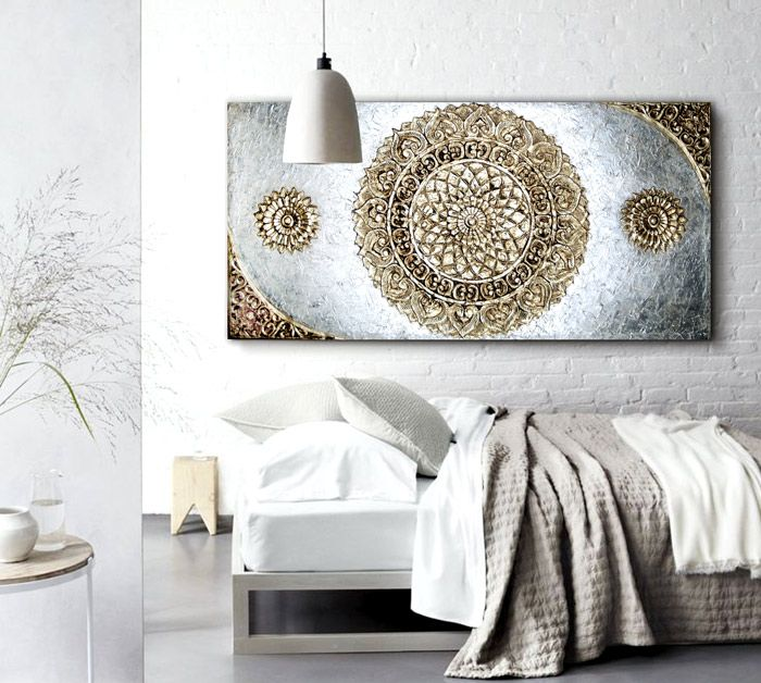 Cuadros para sofas dormitorios cuadro plateado en - Cuadros para dormitorios ...